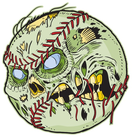 baseball cartoon: A Zombie Baseball Vector Cartoon! Color elements are in a seperate layer in the .eps for easy customization!