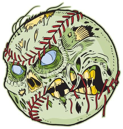 przerażający: Baseball Zombie Cartoon! Elementy kolorowe są w osobnej warstwie w pliku. Eps do łatwego dostosowywania!