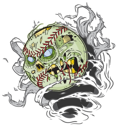 A Zombie Baseball Ripping out of the Background! All Important elements are in seperate layers in the .eps file for easy customization! Stock Vector - 20764419