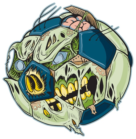 A Zombie Soccer Ball Vector Cartoon! Color elements are in a seperate layer in the .eps for easy customization! Stock Vector - 20764413