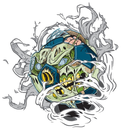 gash: A Zombie Soccer Ball Ripping out of the Background! All Important elements are in seperate layers in the .eps file for easy customization! Illustration