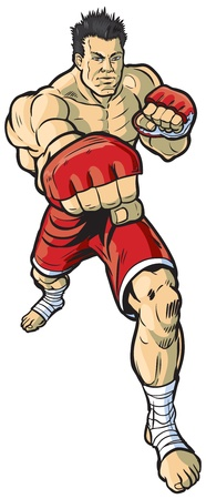 A vector cartoon illustration of an mma fighter throwing a right cross punch toward the viewer. Vector