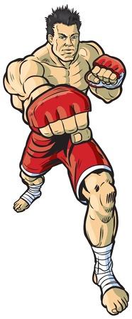 Een vector cartoon illustratie van een mma vechter gooien van een recht kruis stoot naar de kijker. Stock Illustratie