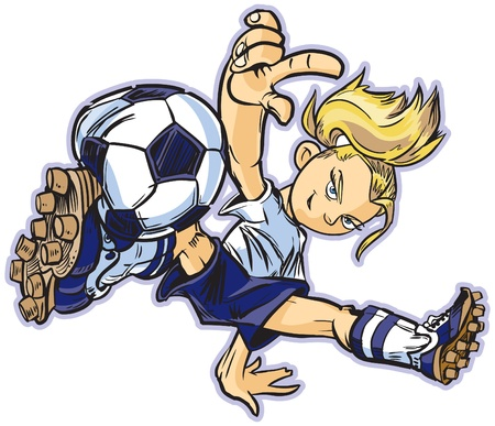 break in: vector clip art cartoon of a caucasian girl using a break dancing move to play soccer. Also available in asian and african ethicities!