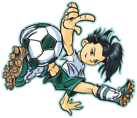 soccer player: vector clip art cartoon of an asian girl using a break dancing move to play soccer. Also available in caucasian and african ethicities!