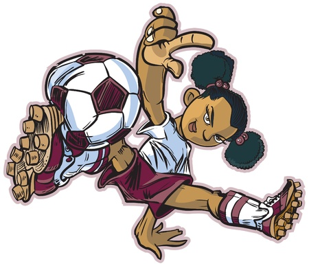 vector clip art cartoon of an african girl using a break dancing move to play soccer. Also available in caucasian and asian ethicities!