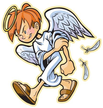 cartoon illustraties van een scrappy engel met rood haar op weg naar een gevecht!