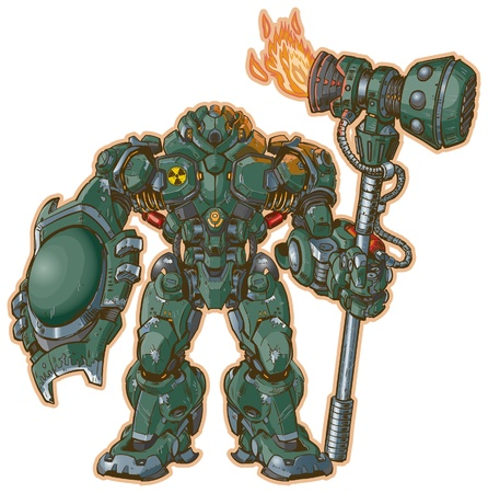 intimidating: A illustration of a robot warrior with a shield and hammer standing at the ready   The hammer is powered by a rocket engine  Illustration