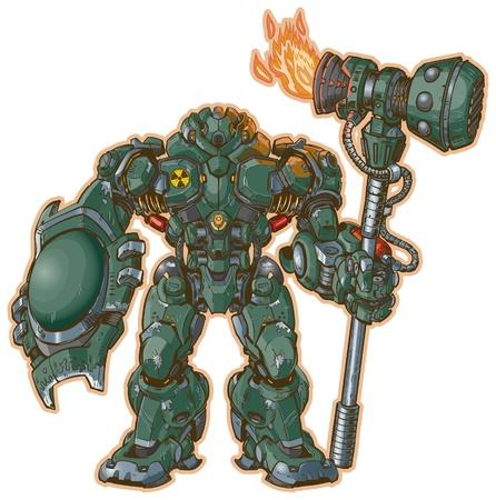 Een afbeelding van een robot krijger met een schild en hamer staan in de aanslag De hamer wordt aangedreven door een raketmotor Stock Illustratie