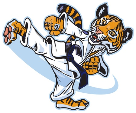 Vector cartoon of a cute young tiger cub martial artist executing a spinning back kick. Иллюстрация