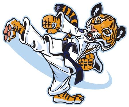 Vector cartoon of a cute young tiger cub martial artist executing a spinning back kick. Illustration