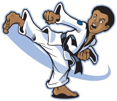 Vector cartoon of a young African boy martial artist executing a spinning back kick. Vector