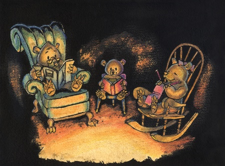 animal den: Ink and watercolor illustration of a family of three bears sitting together on chairs in their den, lit by firelight.