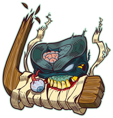 Vector cartoon clip art of a zombie hockey puck biting a brocken hockey stick! Color elements are in a seperate layer in the vector illustration for easy customization. Illustration