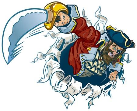 Een vector cartoon piraat scheurt uit de achtergrond, zwaaiend met een machete.