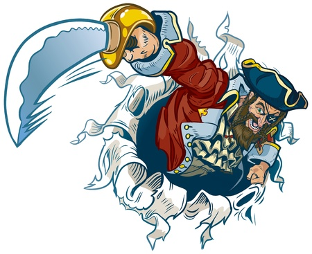 A vector cartoon pirate rips out of the background, brandishing a cutlass.