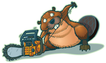 chainsaw: A cute beaver starting a chainsaw. He looks a little guilty to be cheating in this way. Illustration