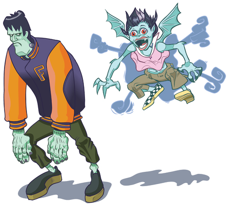 Teenage cartoon versions of a brooding Frankenstein (s) monster and a spunky girl vampire. Perfect for halloween or high school themes. Created as vector clip art, with all important elements on separate layers for easy editing!