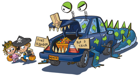 treat: A vector clip art cartoon of two kids warily approching a car decorated for a trunk or treat event on Halloween. The car is decorated to look like a monster that eats unwary children. Illustration
