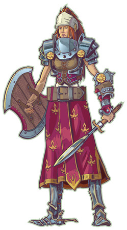 cartoon warrior: Vector cartoon of a warrior woman with red hair.  She is sporting various pieces of piecemeal armor and weapons. Illustration