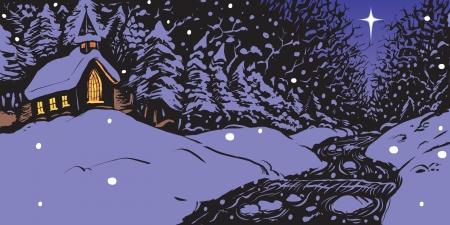 点灯 windows クリークや空の星の 1 つのストリームの近くに教会の特色雪の冬夜のベクトル イラスト