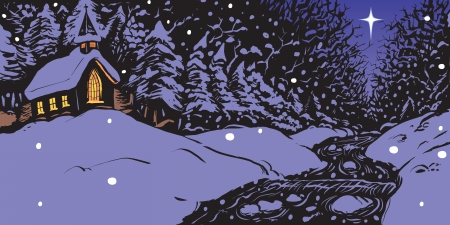 Vector illustratie van een besneeuwde winter 's avonds met een kerk met verlichte ramen in de buurt van een beek of streamen met een enkele ster aan de hemel