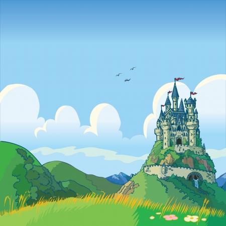 Vector cartoon illustratie van een fantasie achtergrond met glooiende groene heuvels en een kasteel in de verte.