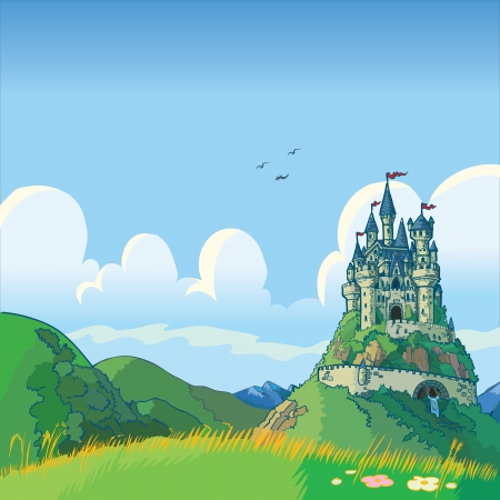 Vector cartoon illustration of a fantasy background with rolling green hills and a castle in the distance. Ilustração