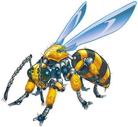 Vector cartoon clip art illustration of a robot wasp or bee. Could also be a conceptual illustration of future drone technology. Ilustração