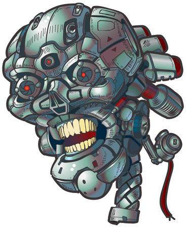 Vector cartoon clip art illustration of a robot skull.
