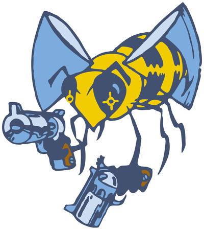 Vector cartoon clip art illustration of a wasp or bee brandishing two pistols or guns.