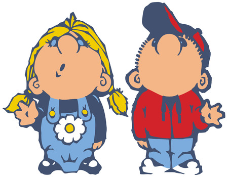 child looking up: Vector cartoon clip art of a little boy and girl looking up and waving. Illustration