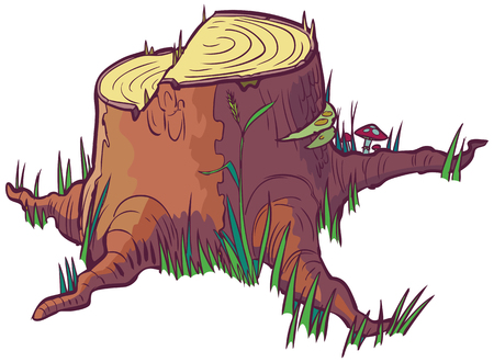 Vector cartoon clip art of a tree stump that looks like it was cut down with a saw. Vector
