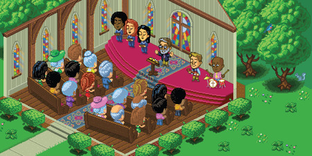 Vector illustration of a church service in a cute cartoon video game pixel art style. The church is located in a forest setting and is rendered in isometric perspective. Separated into layers for easy editing. Vector