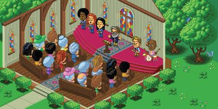 Vektor-Illustration von einem Gottesdienst in einem niedlichen Cartoon-Videospiel Pixel-Art-Stil. Die Kirche befindet sich in einer Waldlandschaft und wird in der isometrischen Perspektive gemacht. In Schichten für die einfache Bearbeitung getrennt. Vektorgrafik