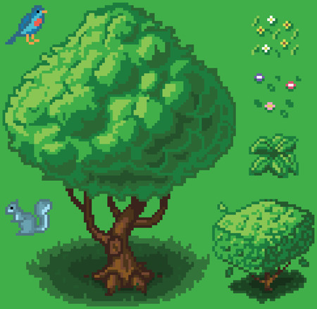 Vector illustration icon set of a tree, shrub, a squirrel, a bird, a small plant, and flowers created in a video game pixel art style. Separated into layers for easy editing. Illustration
