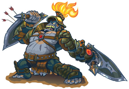 melee: Vector cartoon fantasy illustration of a mighty gorilla warrior in armor with a flaming torch on his helmet. He blocks arrows with his shield blade and in a rage he defies his enemies to meet him in personal combat.