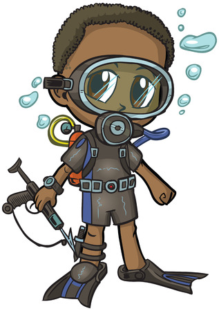 Vector cartoon clip art of an African American boy wearing a scuba suit, drawn in an anime or manga style. He is in a paper doll pose, and has a spear gun, which is removable if desired.  Vector