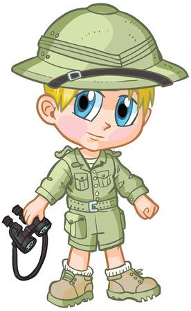 ベクトル漫画クリップ アート アニメやマンガ スタイルで描画のサファリの衣装を着て白人の少年。彼は「ペーパー人形」のポーズで双眼鏡、必要