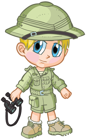 Vector cartoon clip art of a caucasian boy wearing a safari outfit, drawn in an anime or manga style. He is in a paper doll pose, and has binoculars, which is removable if desired.