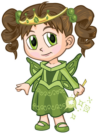 brown haired girl: Vector clip art illustration of a brown haired girl wearing a fairy princess costume, drawn in an anime or manga style. She is in a paper doll pose, and has a wand which is removable if desired. Illustration