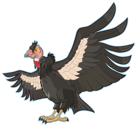 Vector Cartoon Clip Art Illustration of a California Condor with Spread Wings. Ilustração