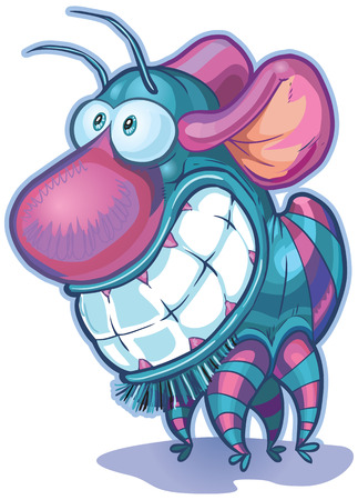 has: Vector cartoon clip art illustration of a cute and funny imaginary creature or monster. It has a big nose, big teeth, mouse ears, and a body and antennae like a bug. Illustration
