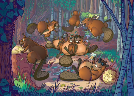 Cartoon Illustration of a group of cute beavers having a party in a forest clearing scene