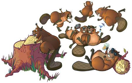 castor: Cartoon Clip Art de un grupo de castores lindo tener una fiesta o celebración