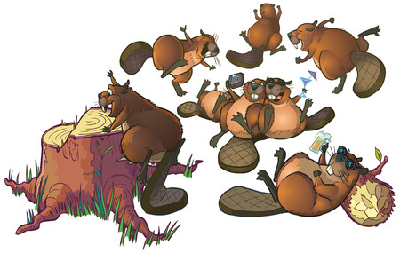 Cartoon Clip Art of a group of cute beavers having a party or celebrating Ilustração