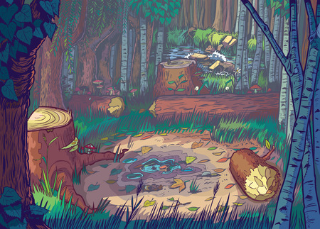 Cartoon Illustration of a forest clearing scene with felled trees and logs and a stream or river in the background Vector