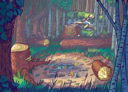 deforestacion: Cartoon ilustración de una escena de la tala de bosques con árboles y troncos talados y un arroyo o río en el fondo Vectores