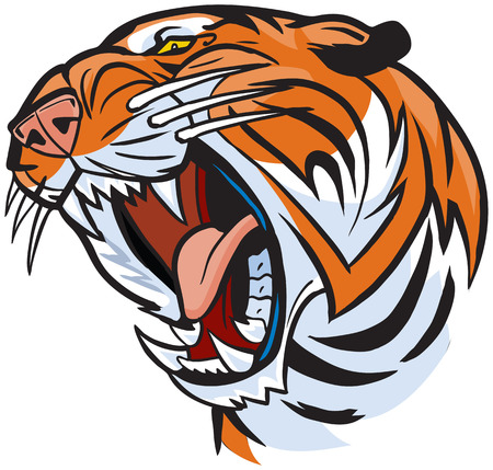 Vector Cartoon Clip Art Illustration of a roaring tiger head Stock Illustratie