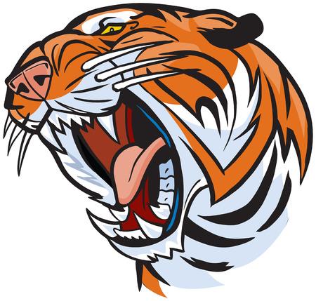 Vector Cartoon Clip kunst illustratie van een brullende tijger hoofd